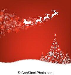 jodła, kartka pocztowa, claus, drzewo, święty, brzeg, boże narodzenie