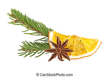 jodła, kromka, gwiazda anyż, drzewo, pomarańcza, zasuszony, tło, biały