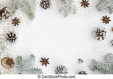 jodła, płaski, anyż, bohater, zima, mockup, drzewo górne, conesand, space., sosna, chodnikowiec, pieśń, tło., prospekt, gwiazda, biały, kopia, gałęzie, boże narodzenie, frame.