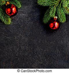 jodła, płaski, gałęzie, przestrzeń budowa, górny, drzewo, boże narodzenie, tło., czarnoskóry, ozdoby, prospekt., kopia, pieśń
