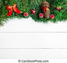 jodła, płaski, gałęzie, przestrzeń, drewniany, pieśń, górny, drzewo, boże narodzenie, tło., biały, ozdoby, prospekt., kopia, ułożyć