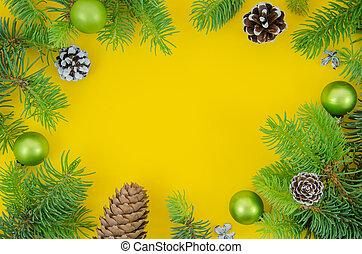jodła, płaski, piłki, gałęzie, przestrzeń budowa, górny, sosna, boże narodzenie, tło., żółty, mockup., rok, nowy, kopia, stożki, pieśń, prospekt