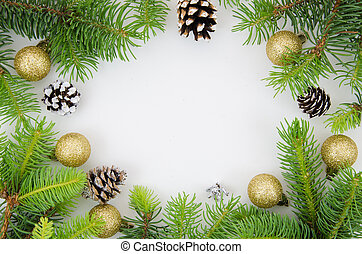 jodła, płaski, piłki, gałęzie, przestrzeń budowa, górny, sosna, boże narodzenie, tło., mockup., rok, nowy, biały, kopia, stożki, pieśń, prospekt