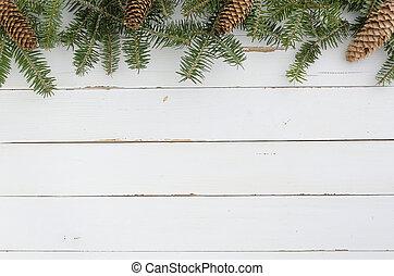 jodła, płaski, stożki, mockup., drzewo, sosna, gwiazdkowa ozdoba, projektować, pieśń, tło, biały, ułożyć, minimalny