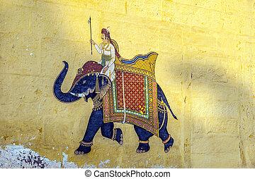 jodhpur, bunte, ausstellung, königlich, wandgemälde,...