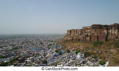 Jodhpur City and Mehrangarh Fort - Drone, exterior, extreme ...