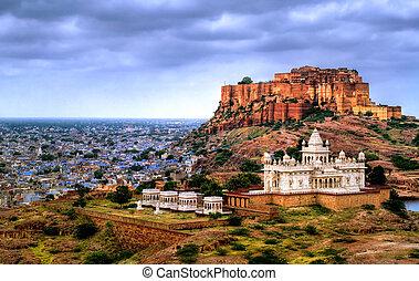 jodhpur, india, mehrangharh, jaswant, mausoleo, rajasthan,...