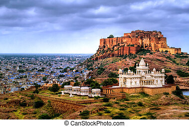 jodhpur, indien, mehrangharh, jaswant, mausoleum, rajasthan,...
