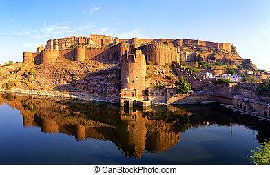 jodhpur, palacio, india., indio, fortaleza, mehrangarh, ...