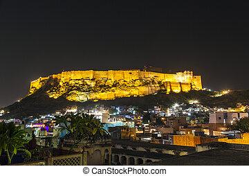 jodhpur, rajasthan, インド, 歴史的, mehrangarh, 夜, 城砦