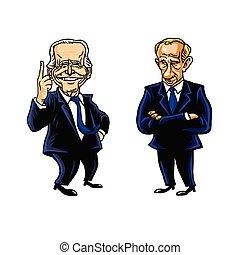 Joe Biden and Vladimir Putin Cartoon Editorial Caricature Drawing Vector Illustration. Washington, 19 April 2021