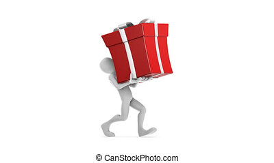 Joe carrying the big red gift.