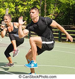 joelho cima, exercício