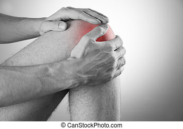 joelho, dor, em, homens