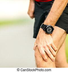 joelho, dor, executando, ferimento
