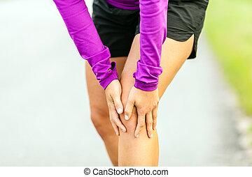 joelho, executando, ferimento físico, dor