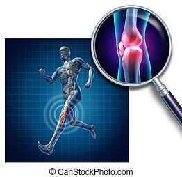 joelho, ferimento, esportes
