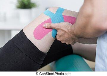 joelho, ferimento, paciente, após
