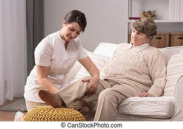 joelho, mulher, doloroso
