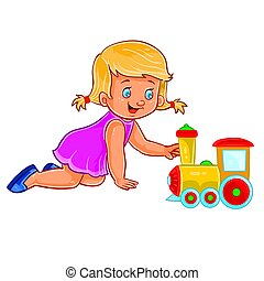joelhos, pequeno, dela, locomotiva, vetorial, rastejar,...