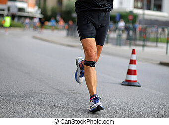 joelhos, seu, atleta, executando, faixa, durante, maratona