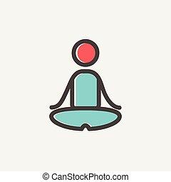 joga, übung, dünne linie, ikone