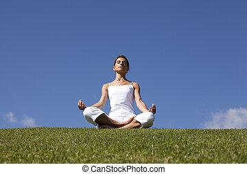 joga, an, der, natur