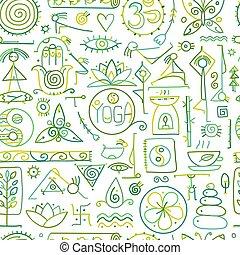 joga, begriff, muster, seamless, design, dein