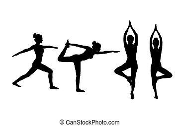 joga, frau, silhouette