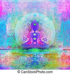 joga, gefärbt, pose., lotos, points., padmasana, chakra