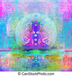 joga, lotos, pose., padmasana, mit, gefärbt, chakra, points.