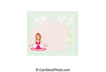 joga, lotos, rahmen, position, m�dchen