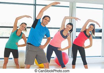 joga, macht, leute, fitness, lächeln, klasse, übung