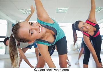 joga, macht, leute, gesundheit klasse, übung