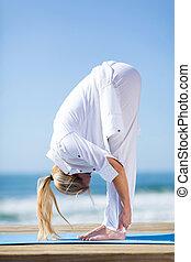 joga, mitte, frau, antikisiert