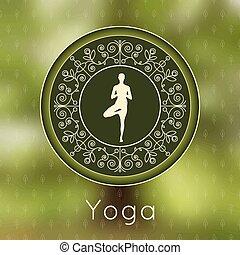 joga, plakat, mit, blumen-, verzierung, und, yogi,...