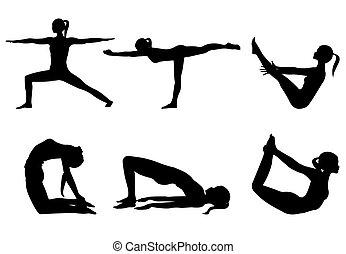 joga, reihe, schwarz, silhouetten, 3