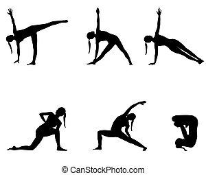 joga, reihe, schwarz, silhouetten