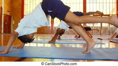 joga, schule, matte, übung, schoolkids, 4k, verrichtung