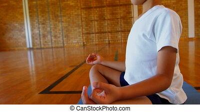 joga, schule, matte, schuljunge, übung, 4k, verrichtung