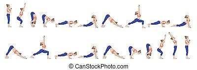 joga, sonne, b., salutation., surya, namaskara, sequence.