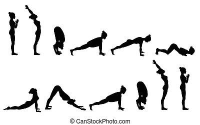joga, sonne, sequence., salutation., surya, namaskara.