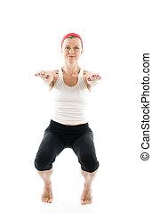 joga, unbeholfen, haltung, vorderansicht