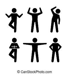 joga, und, fitness, positionen, schwarz, silhouetten, human., vektor