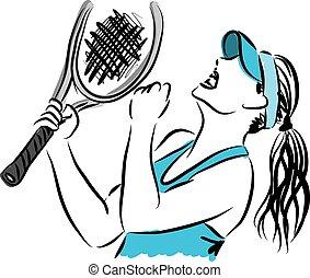 jogador, 3, tênis, ilustração