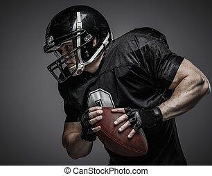jogador, americano, futebol, bola