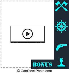jogador, apartamento, ícone, vídeo, teia
