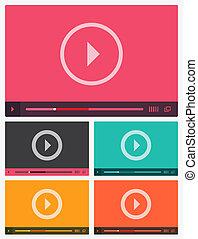 jogador, apartamento, modernos, vídeo, interface.