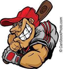 jogador, basebol, caricatura, bata, vec