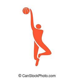 jogador, basquetebol, ícone